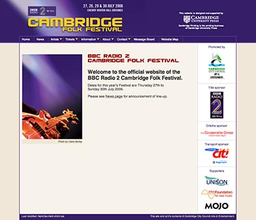 Screenshot of the Cambridge Folk Festival website home page